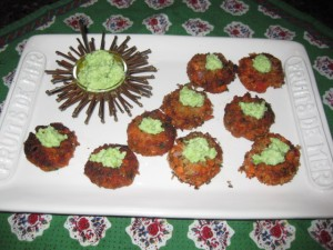 Salmon Cakes with Edamame and Wasabi Topping