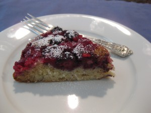 Blackberry and Raspberry Upside Down Cake