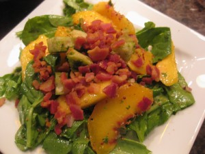 Peach and Arugula Salad with Pancetta Chips