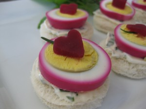 Pink Heart Egg Finger Sandwich