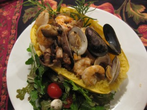 Shellfish with Spaghetti Squash