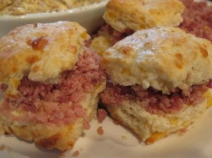 Sweet Potato Biscuits with Ham and Orange Marmalade