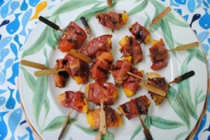 Grilled Peach Prosciutto Kebabs