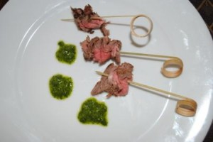 Grilled Flank Kebabs with Chimichurri Sauce