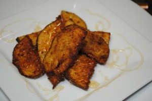 Fried Eggplant Chips with Honey Drizzle