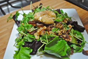 Baked Goat Cheese Salad with Dates