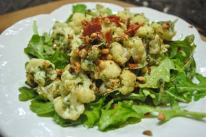 Pesto Cauliflower with Arugula Salad