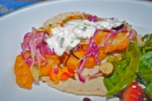 Fish Tacos with Jalapeno Creme Fraiche