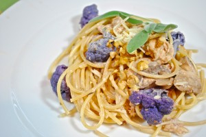 Pasta with Purple Cauliflower and Walnut Cream Sauce