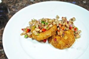 Fried Green Tomatoes with Black Eyed Pea Vinaigrette