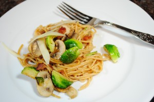 Brussel Sprouts, Chestnuts and Whole Wheat Pasta