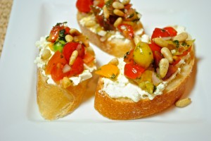 """Tomato Crostini with Whipped Feta & Aviation Cocktail for """"SNS"""""""