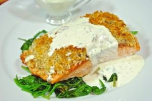 Salmon with Bread Crumb Crust and Dill Sauce