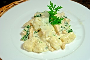 Gnocchi with Grilled Chicken and Gorgonzola Sauce