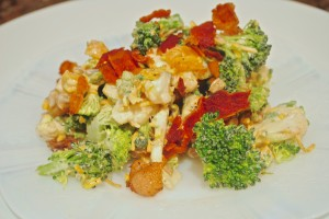 Cauliflower Broccoli Salad with Apricots