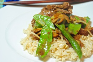 Beef, Mushrooms and Pea Pods