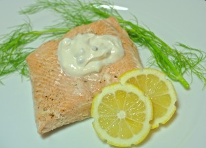 Poached Salmon with Fennel and Lemon Caper Yogurt Sauce
