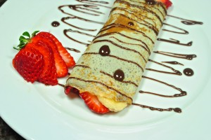 Nutella Strawberry Banana Crepe with Chocolate Cream Sauce