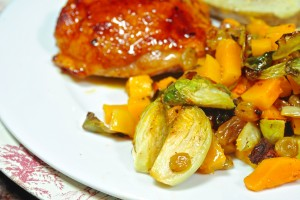 Brussel Sprouts with Squash, Bacon and Raisins