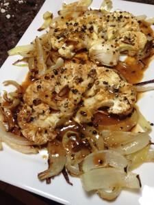 Cauliflower Steak and Onions