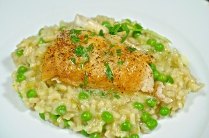 Green Pea Risotto (with Pan Seared Halibut)