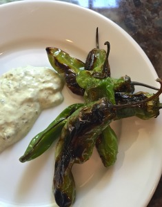 Grilled Shishito Peppers with Garlic Aioli