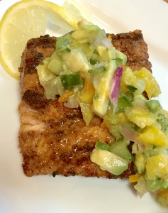 Asian Salmon with Avocado, Orange and Cucumber Salsa
