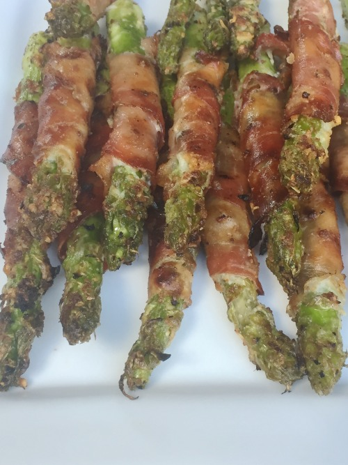 Prosciutto Wrapped Asparagus with Parmesan and Lemon