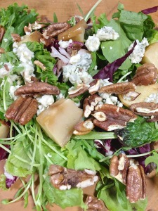 Grilled Pork Chop and Roasted Apple Salad