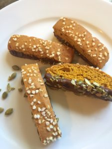 Pumpkin Biscotti with Chocolate and Pumpkin Seeds