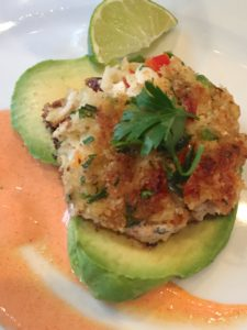 Crab Cakes with Red Pepper Yogurt Sauce