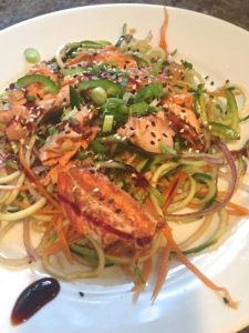 Vegetable Noodles with Cedar Plank Salmon