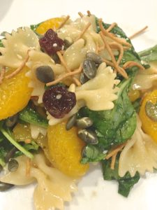 Pasta Spinach Salad with Mandarins and Cherries