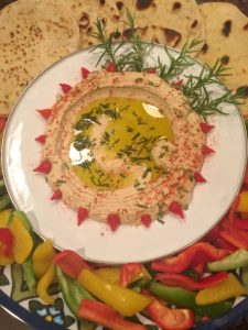 Rosemary Lafa Bread and Hummus