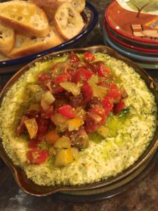 Baked Goat Cheese with Tomatoes and Pesto
