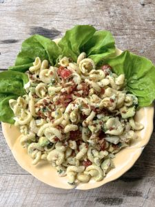 Avocado Bacon and Egg Pasta Salad