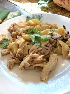 Smoked Mushrooms and Chicken with Pappardelle Pasta