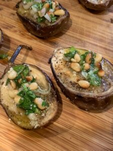 Baby Eggplant with Pine Nut Salsa