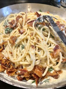 Bucatini with Spinach, Bacon and Creamy Parmesan Sauce